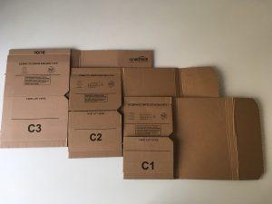 Amazon Buchverpackungen in den Größen C1, C2 und C3